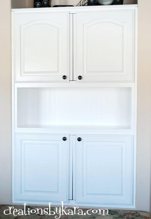 Beadboard Wallpaper Cabinet