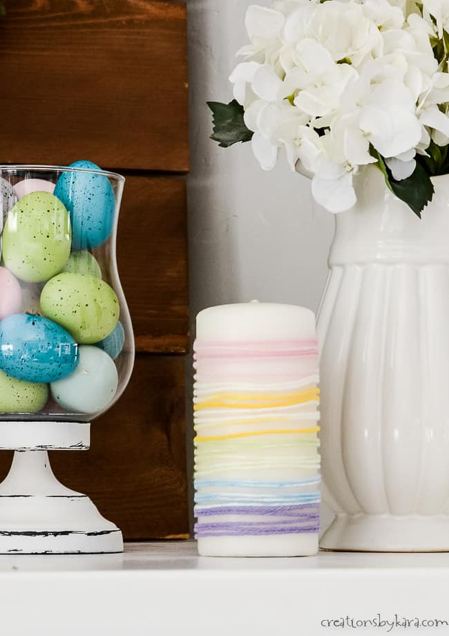 yarn wrapped candle for Easter