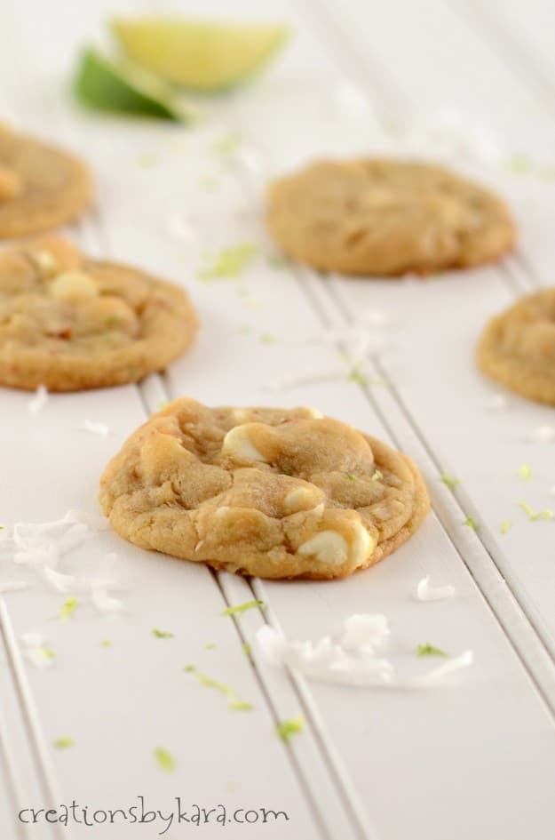 Add a twist of the tropics to your cookie jar with these White Chocolate Coconut Lime Cookies