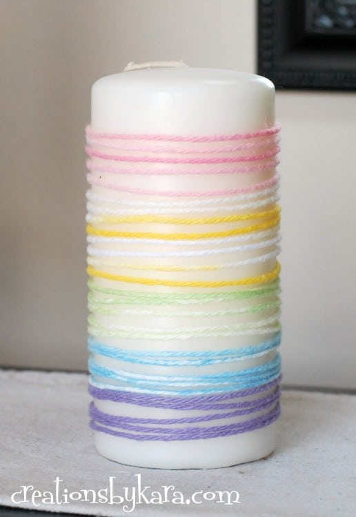 Easter yarn wrapped pillar candles