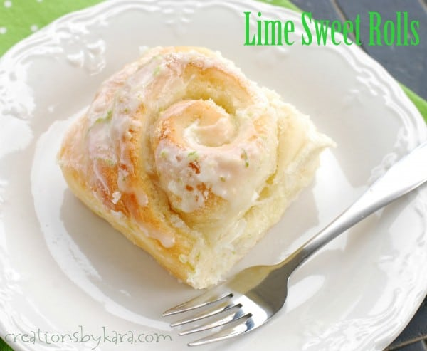 lime sweet roll on a plate with a fork
