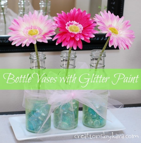 Bottle Vases with Martha Stewart Glitter Paint 029