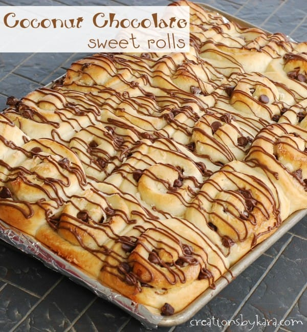 pan of sweet rolls with chocolate chips and coconut