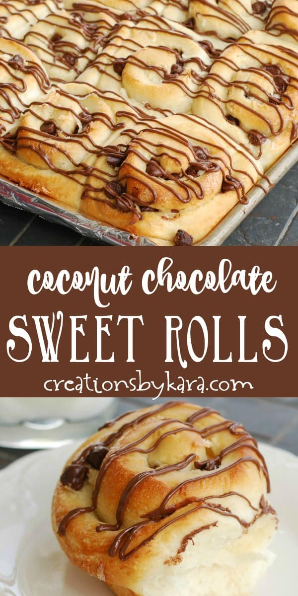 coconut chocolate sweet rolls recipe collage