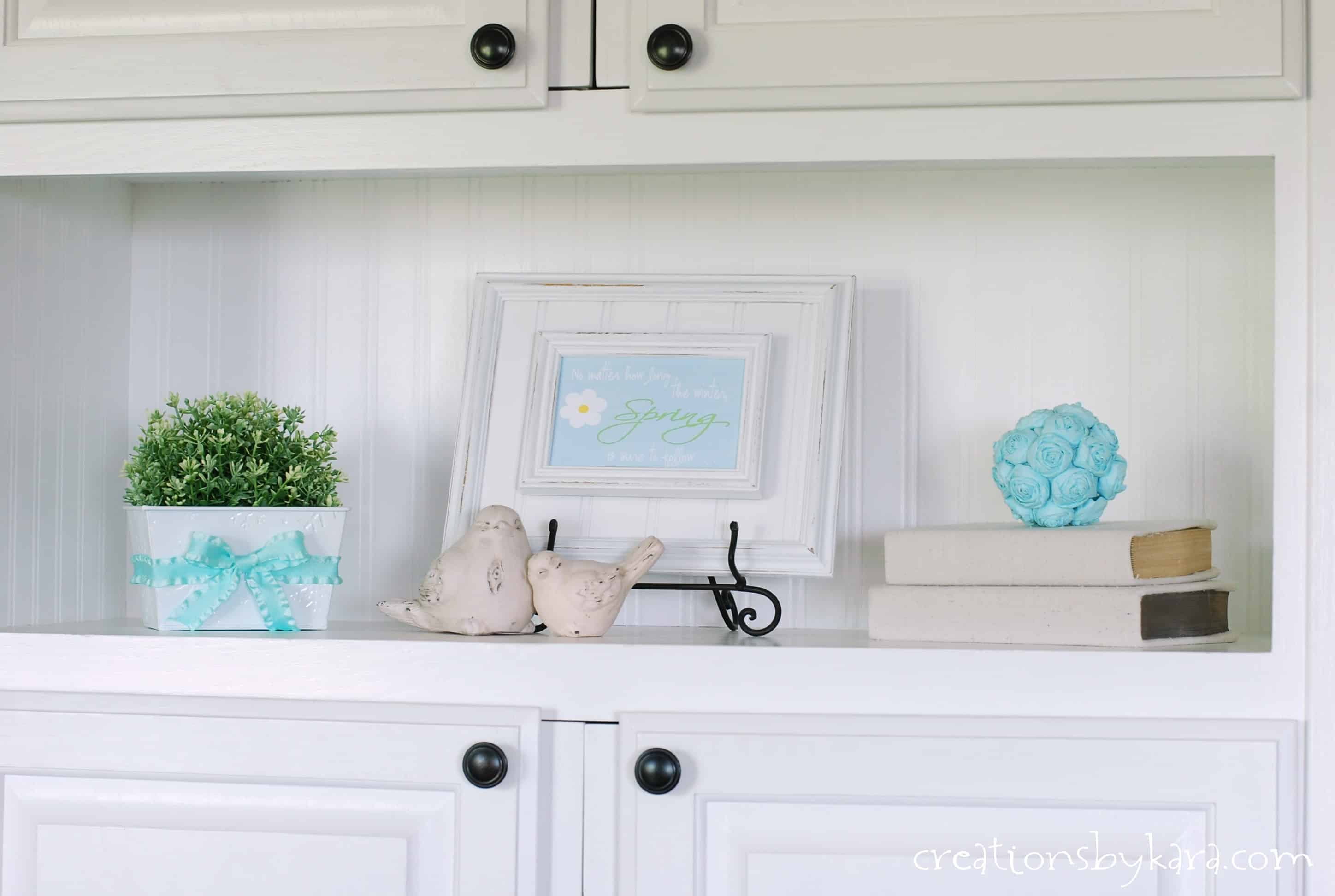 spring bookcase shelf decor
