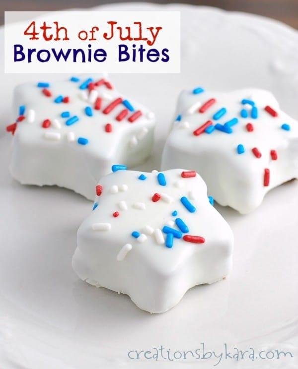 red white and blue dipped browni bites