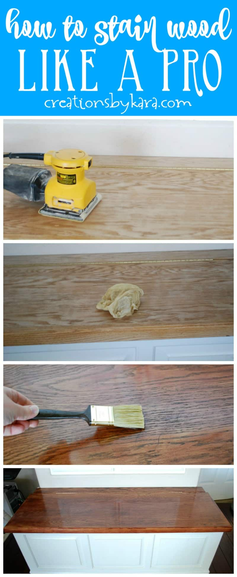 Learn how to stain wood like a pro with these tips and tricks. Improve your DIY skills with this step by step tutorial! #stainwood #woodstain #diy #woodworking
