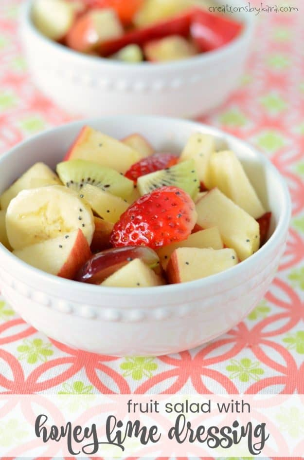 bowl of Fruit Salad with Honey Lime Dressing