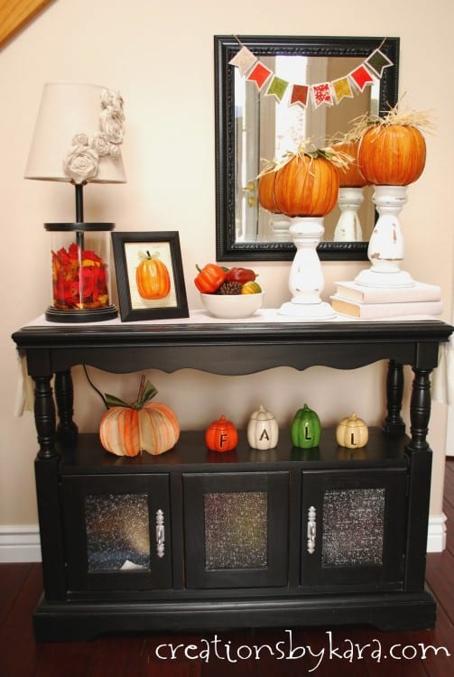 Fall decorating ideas entryway table decor Table entree design