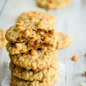 stack of homemade butterscotch oatmeal cookies