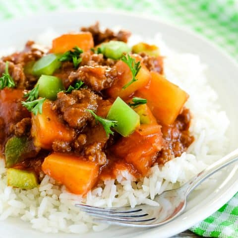 sweet and sour beef over rice