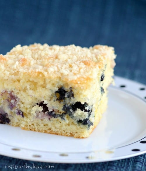 This blueberry coffee cake is soft and tender, and topped with a tasty buttery crumb topping.