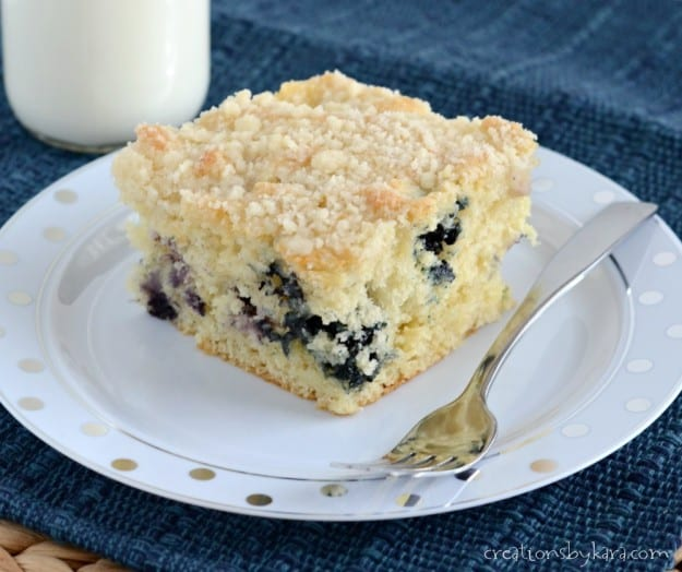 Blueberry Coffee Cake with Crumb Topping on a plate with a fork