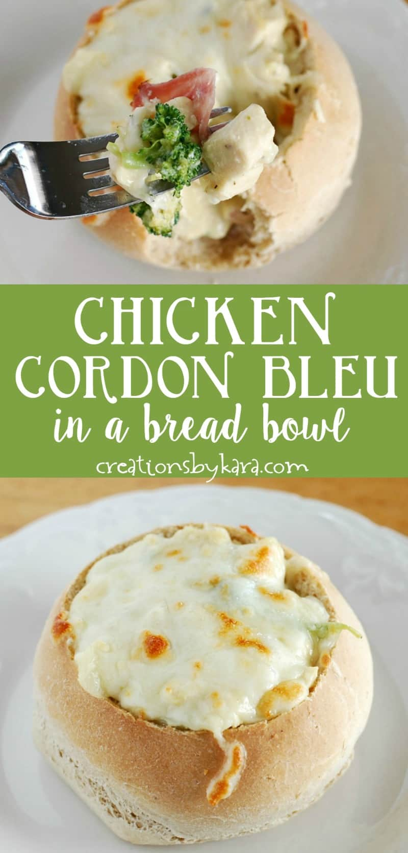 Chicken Cordon Bleu Bread Bowls . . . soup isn't the only thing you can serve in a bread bowl. This creamy chicken dish is loaded with chunks of ham and broccoli, and topped with cheese. A delicious chicken recipe! #chicken #breadbowl