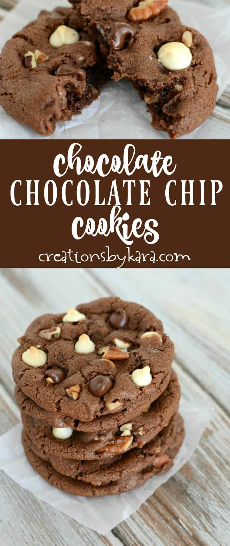 Recipe for triple chocolate chocolate chip cookies loaded with chocolate chips and pecans. A perfect cookie for chocoholics!