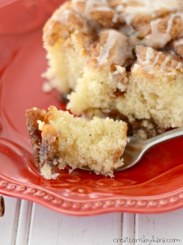 Every bite of this cinnamon roll cake is melt in your mouth delicious!