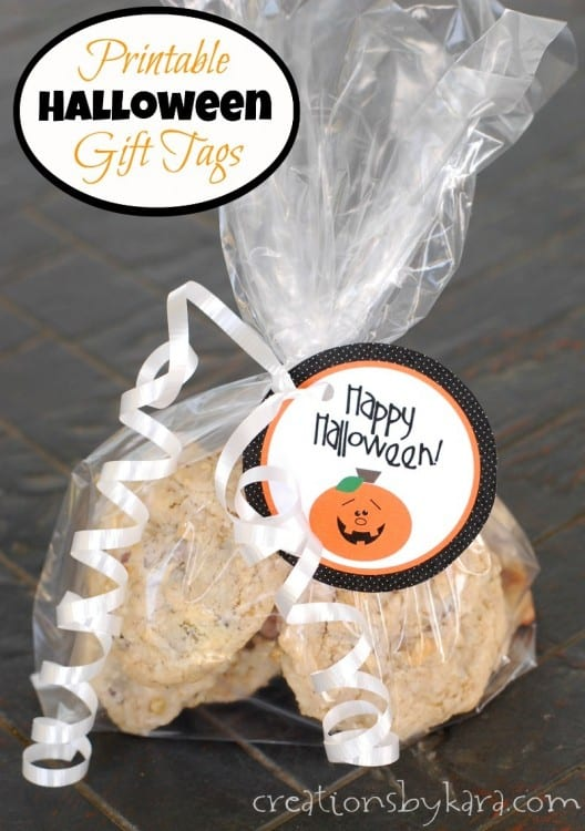 bag of treats with halloween gift tag