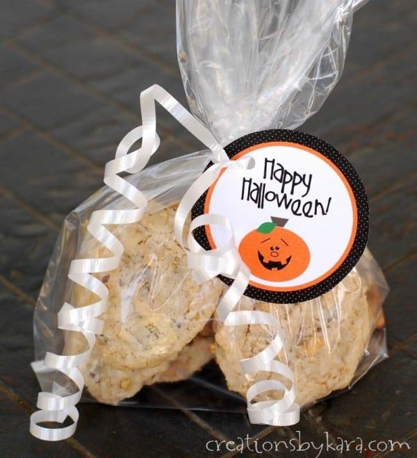 cute pumpkin gift tag on a bag of goodies