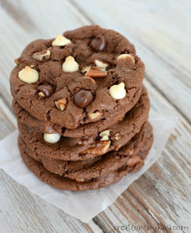 Recipe for Chocolate Chocolate Chip Cookies - loaded with chocolate, these cookies are so decadent.
