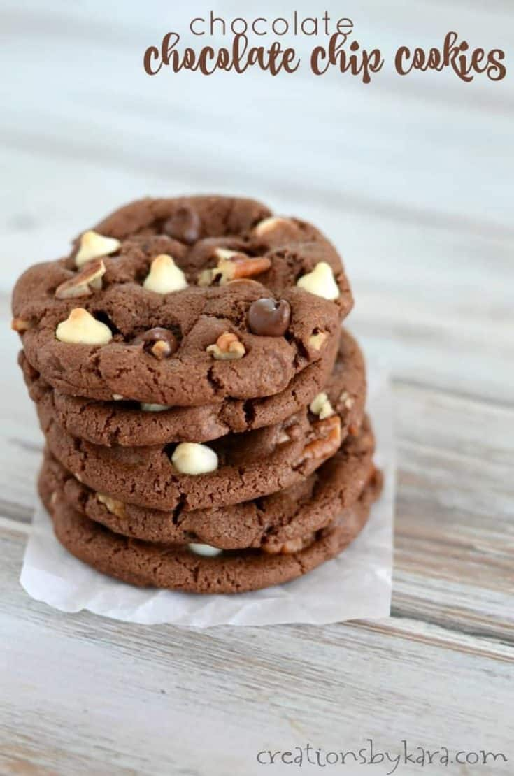 Loaded with three kinds of chocolate chips, these Triple Chocolate Chocolate Chip Cookies are a decadent treat!