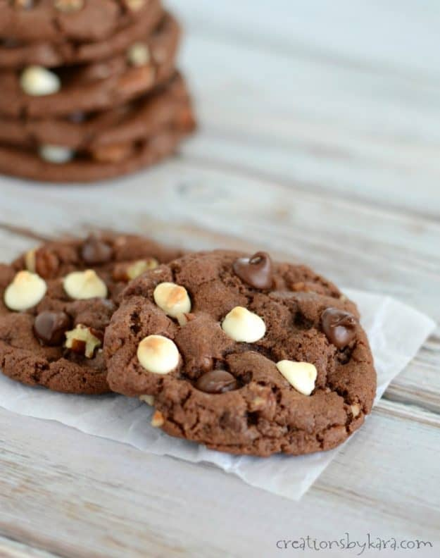 Decadent Triple Chocolate Chocolate Chip Cookies - crisp on the outside, chewy on the inside, and loaded with chocolate.
