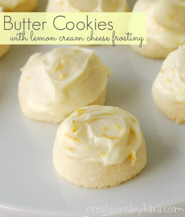 Butter Cookies with Lemon Cream Cheese Frosting - these cookies just ...