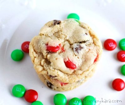 Festive Christmas Chocolate Chip M&M Cookies. Change the color of M&M's for any holiday.