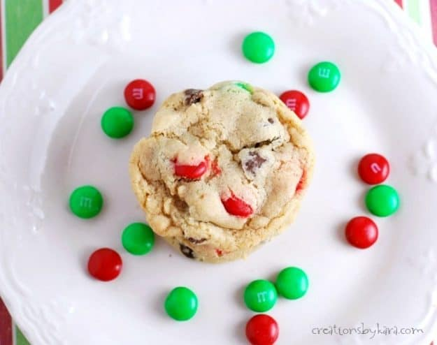 Recipe for soft and chewy M&M chocolate chip cookies. A perfect cookie any time of year.