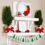 Silver, Green, and Red Christmas Shelf Decor