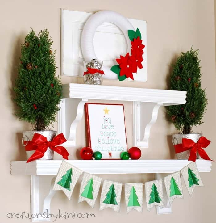 Simple Christmas Home Decorations: Silver, Green, And Red Christmas Shelf Decor