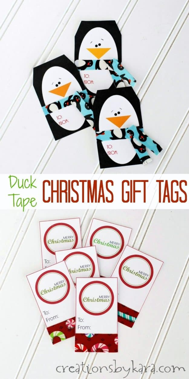 Christmas Duck Tape Gift Tags - simple and cute. Easy to make with the free printable gift tags!