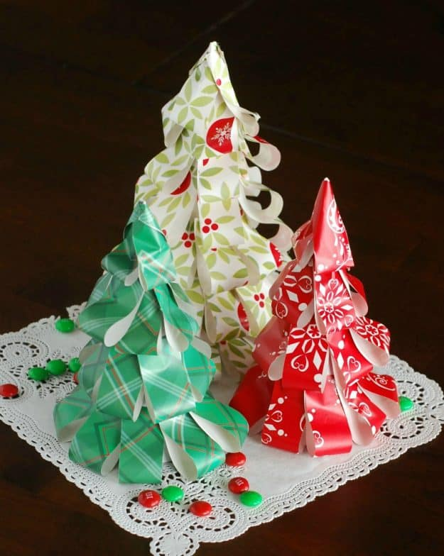 How to make Christmas Trees from wrapping paper. A fun and easy Christmas craft!