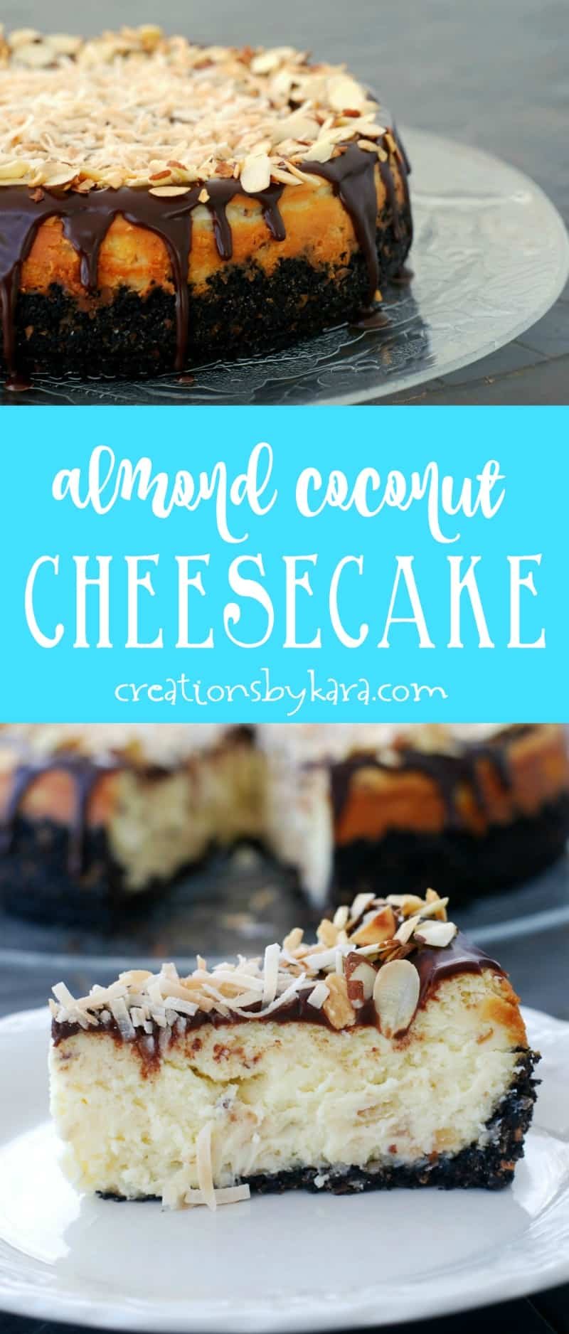 This Almond Coconut Cheesecake is a piece of heaven in every bite! If you love Almond Joy candy bars, you need to try this cheesecake recipe.