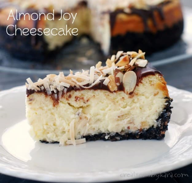 This Almond Joy Cheesecake is a piece of heaven in every bite!