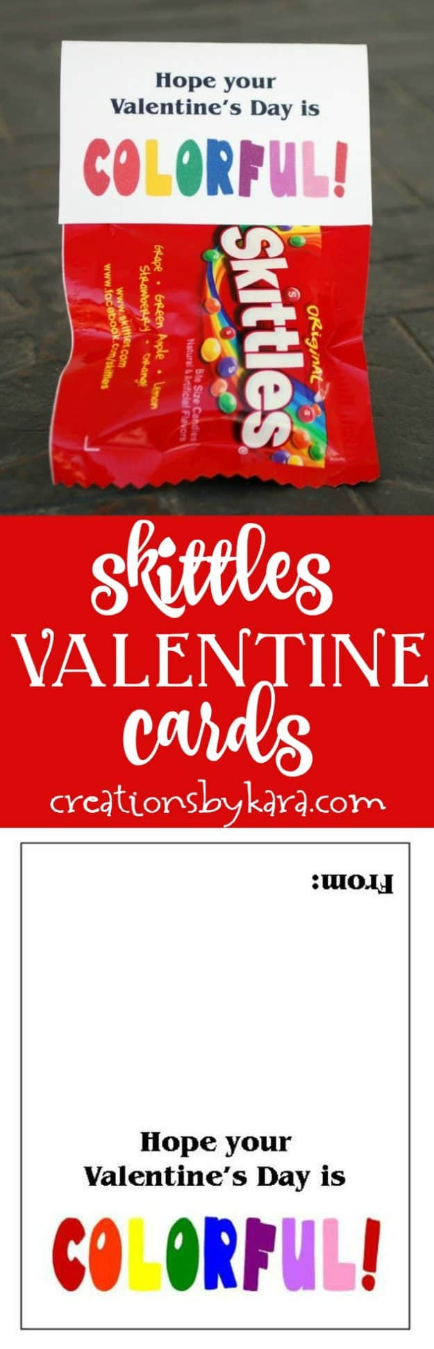 Printable Valentines cards with Skittles – Mini Valentine Cards