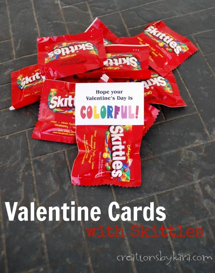 Printable Valentines cards with Skittles