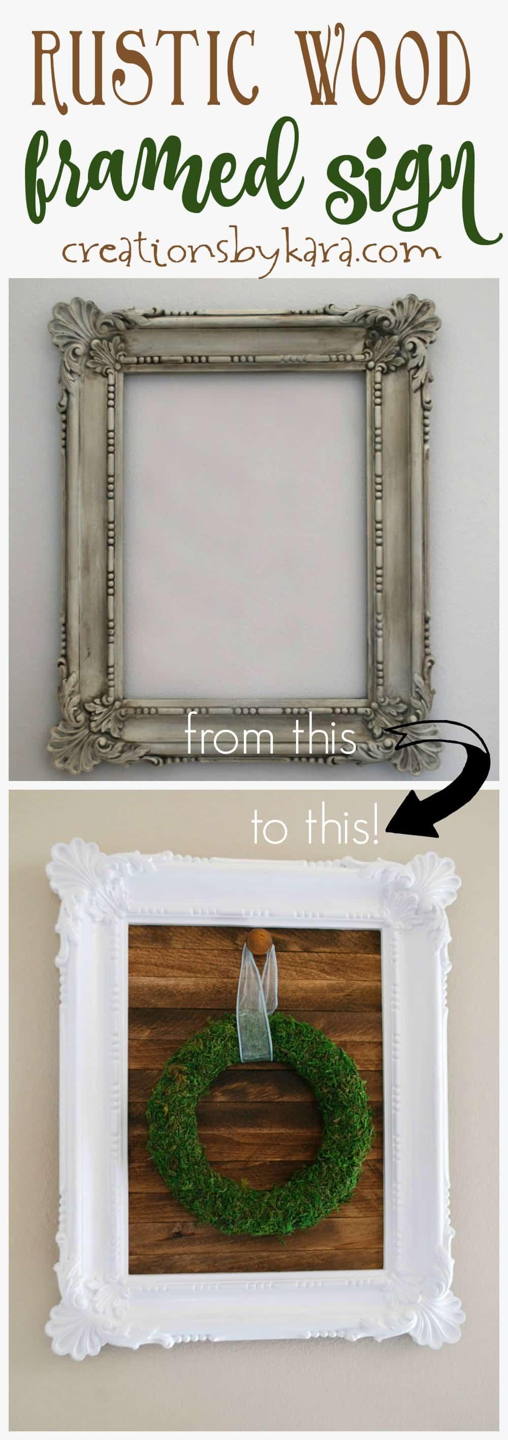 diy framed rustic wood sign. Black Bedroom Furniture Sets. Home Design Ideas