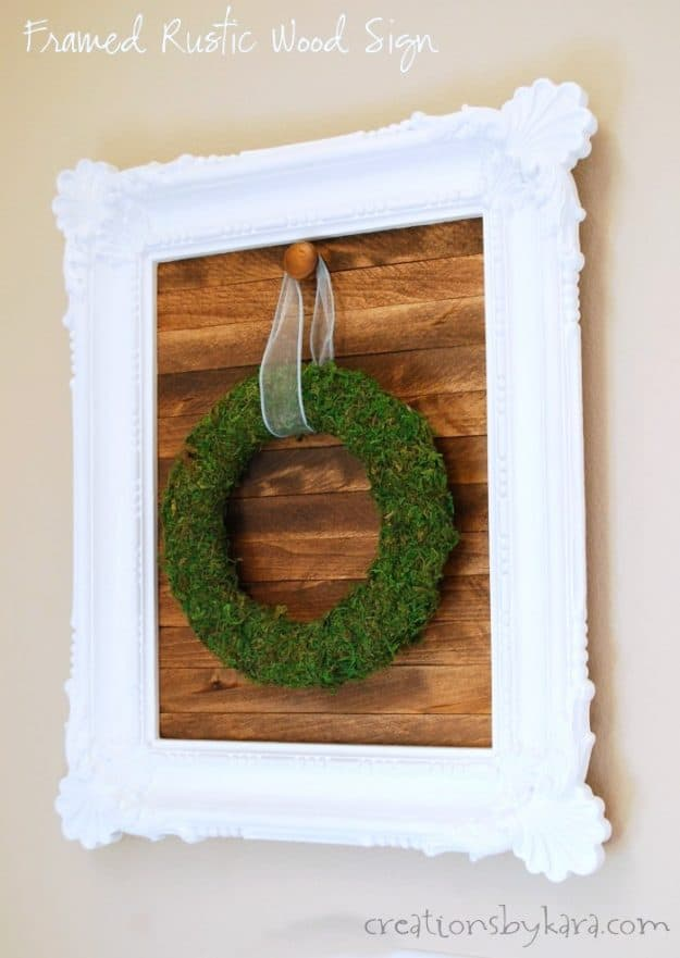 DIY Wood Slat Sign with frame- this simple project can be customized to match any decor. Great for hanging seasonal wreaths!