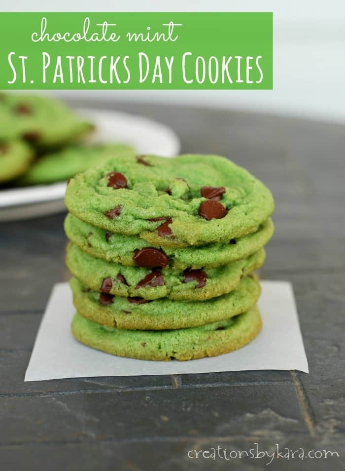 Chewy mint chocolate chip cookies colored green for St. Patrick's Day. A fun and tasty treat!