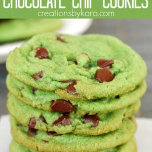 green mint chocolate chip cookies pinterest pin