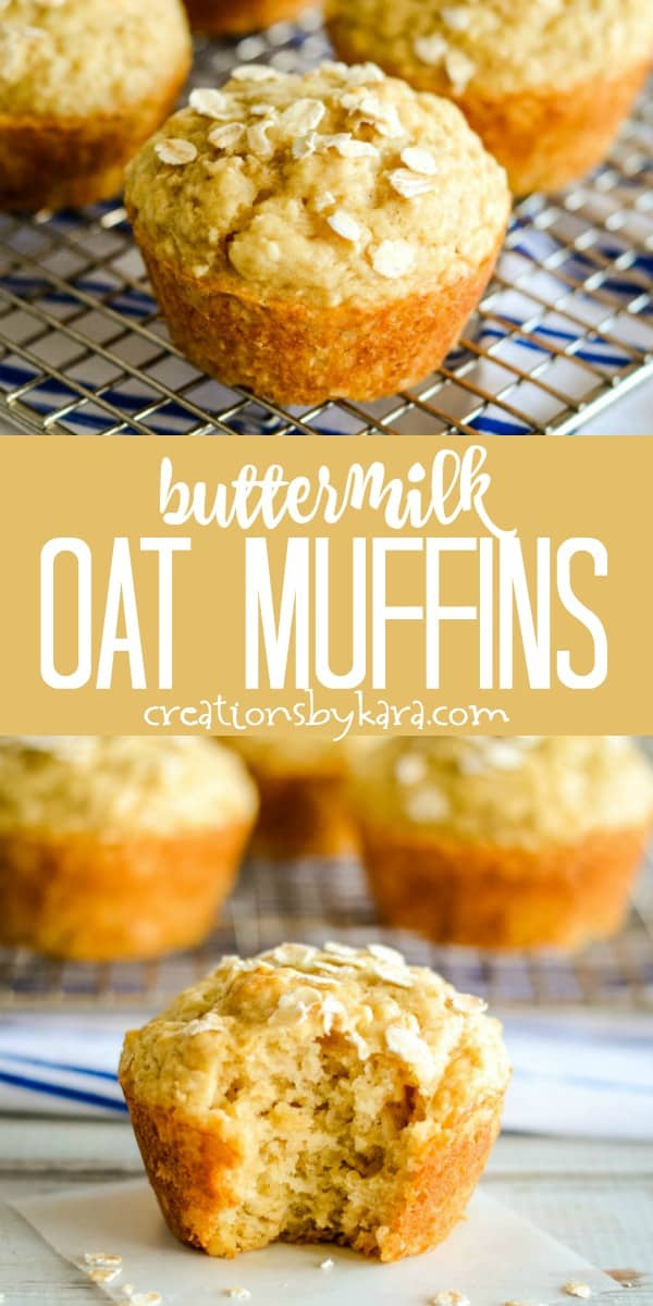 buttermilk oat muffins recipe collage