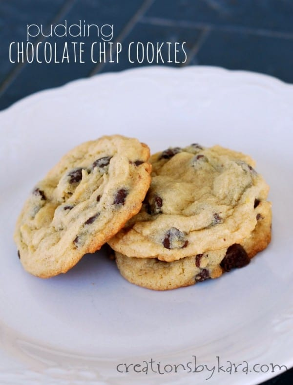Soft chocolate chip cookies on a plate