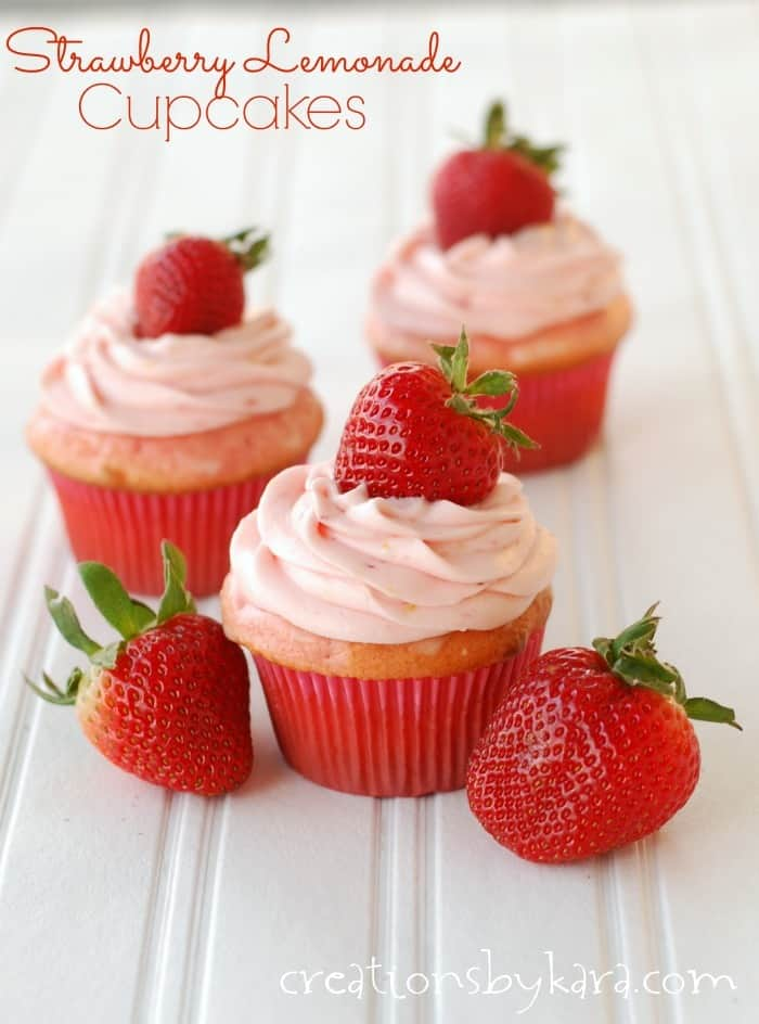 Strawberry Lemonade Cupcakes With Strawberry Cream Cheese