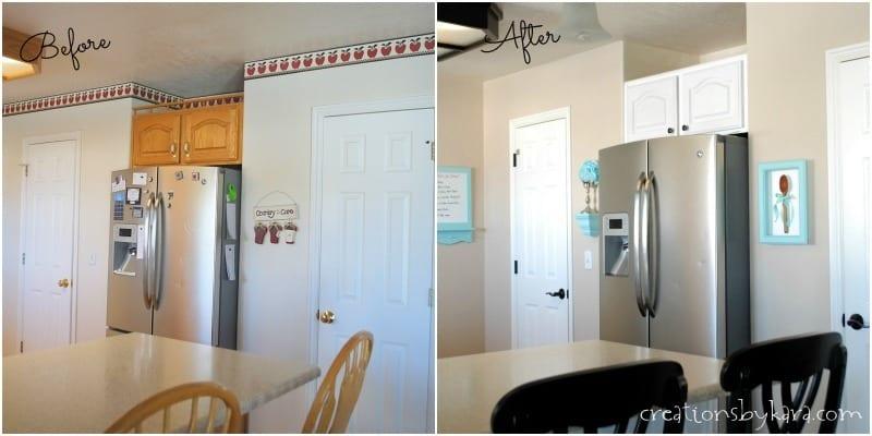 DIY white kitchen makeover reveal on