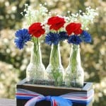 4th of July Centerpiece- Rustic Crate with Bottle Vases
