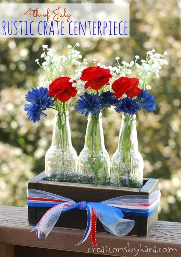 4th of July Rustic Crate Centerpiece