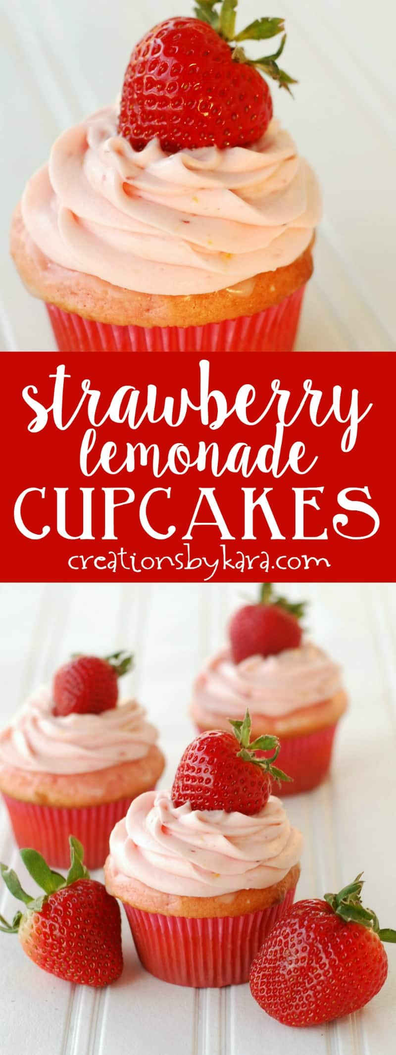 Strawberry Lemonade Cupcakes with strawberry cream cheese frosting. Some of the tastiest cupcakes ever! #strawberrylemonade #cupcakerecipe