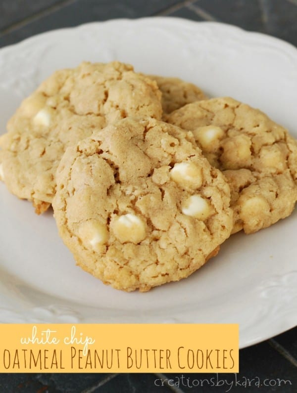 White Chip Oatmeal Peanut Butter Cookies