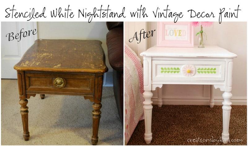 Painted White Nightstand -001
