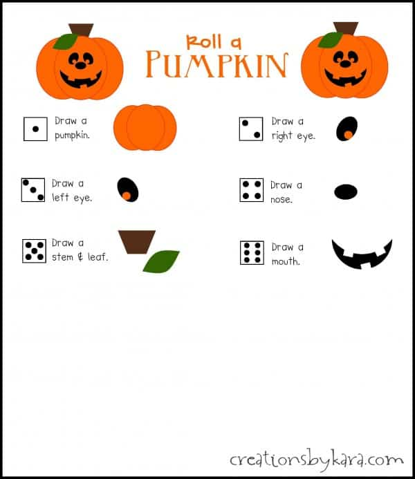 ... print out as many as you need. Have fun! Roll a Pumpkin Halloween Game